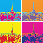 Popart Painting Prints - Paris 24 Hours Print by Flo Ryan