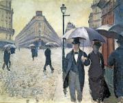 Parasols Framed Prints - Paris a Rainy Day Framed Print by Gustave Caillebotte
