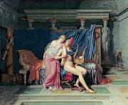 Troy Paintings - Paris and Helen by Jacques Louis David