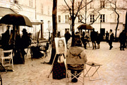 Park Benches Photo Metal Prints - Paris Artist District - Montmartre  Metal Print by Kathy Fornal