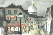 Europe Pastels - Paris at Night by Alyson Therrien