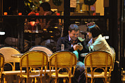 Texting Acrylic Prints - Paris at Night in the Cafe Acrylic Print by Mary Machare