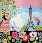 Little Girl Digital Art - Paris Bistro Dress  by Karen Fields