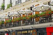 Balcony Framed Prints - Paris cafe Framed Print by Elena Elisseeva
