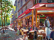 Popular People Paintings - Paris Cafe Society by David Lloyd Glover