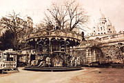 Paris At Night Prints - Paris Carousel Montmartre District - Sacre Coeur  Print by Kathy Fornal