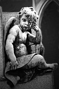 Paris Cemetery - Pere La Chaise - Black And White Cherub Print by Kathy Fornal