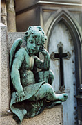 Paris Cemetery Prints - Paris Cemetery - Pere La Chaise - Cherub and Cross Print by Kathy Fornal