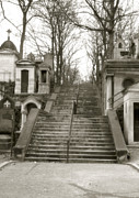 Sepia Paris Art Cemetery Stairs Prints - Paris Cemetery - Pere La Chaise - Mausoleum Stairs  Print by Kathy Fornal
