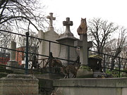 Pere La Chaise Cemetery Cats Prints - Paris Cemetery - Pere La Chaise - Wild Cats  Print by Kathy Fornal