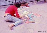 Color_image Posters - Paris Chalk Artist 1963 Poster by Glenn McCurdy