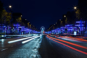 Lumiere Photos - Paris Champs Elysees at night during Christmas  Blue Light by Mao Xiangchang