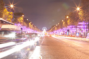 Vintage Paris Originals - Paris Champs Elysees at night during Christmas Polaroid Effect by Mao Xiangchang