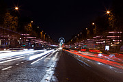 Lumiere Photos - Paris Champs Elysees at night during Christmas  Red Light by Mao Xiangchang