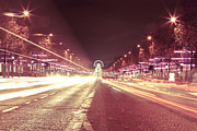 Vintage Paris Originals - Paris Champs Elysees at night during Christmas  Red polaroid effect by Mao Xiangchang