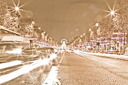 Vintage Paris Originals - Paris Champs Elysees at night during Christmas Soft and yellow tone by Mao Xiangchang