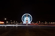 Vintage Paris Originals - Paris Champs Elysees ferris wheel at night during Christmas by Mao Xiangchang