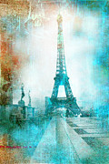 Mixed Media Photos Posters - Paris Eiffel Tower Aqua Impressionistic Abstract Poster by Kathy Fornal