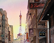 Paris Painting Metal Prints - Paris Eiffel Tower Metal Print by Irina Sztukowski