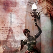 Paris Metal Prints - Paris Eiffel Tower Pink Surreal Fantasy Montage Metal Print by Kathy Fornal