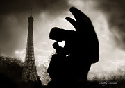 Surreal Eiffel Tower Art Photos - Paris - Eiffel Tower With Angel by Kathy Fornal