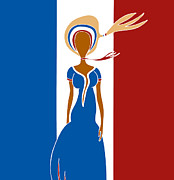 Whimsical Drawings Posters - Paris Fashion Poster by Frank Tschakert