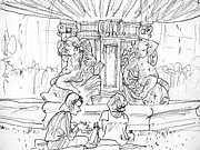 City Scene Drawings - Paris Fountain by Marilyn MacGregor