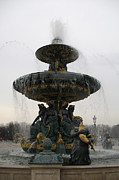Place De La Concorde Posters - Paris Fountain-Place de la Concorde Fountain Square Poster by Kathy Fornal