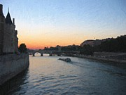France Mixed Media Originals - Paris France Seine River at Sunset by Michael Meinberg