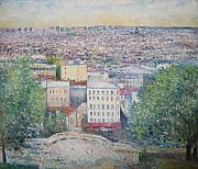 Montmartre Paintings - Paris from the Basilique du Sacre Coeur Montmartre France 2003  by Enver Larney
