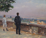 Rooftops Paintings - Paris from the observatory at Meudon by Jules Ernest Renoux