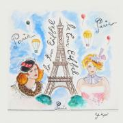 Eiffel Tower Drawings Metal Prints - Paris Girls Metal Print by John Keaton