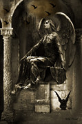 Gothic Dark Photography Prints - Paris Gothic Angel Gargoyle and Ravens Print by Kathy Fornal