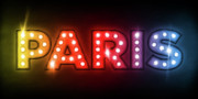 Name Prints - Paris in Lights Print by Michael Tompsett