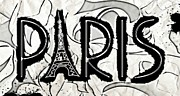 Black And White Paris Mixed Media Posters - Paris Inked Poster by Lauranns Etab