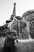 Paris Las Vegas Posters - Paris Las Vegas Fountain 1 BW Poster by Jessica Velasco