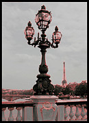 Paris Metal Prints - Paris Luminaires and Eiffel Tower Metal Print by Carol Groenen