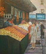 Paris Pastels Posters - Paris Marketplace II Poster by Diane Caudle