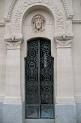 Cemeteries Of Paris Posters - Paris Mausoleum Door With Jesus Poster by Kathy Fornal