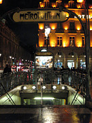Night Scene Prints Photos - Paris Metro Station Night Scene  by Kathy Fornal