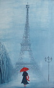 Streetscape Paintings - Paris Mist by Estelle  Wicks