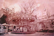 Paris Art Deco Prints Photos - Paris Montmartre Pink Carousel at Sacre Coeur  by Kathy Fornal