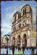 Landscape Pastels Framed Prints - Paris Notre-Dame de Paris Framed Print by Yuriy  Shevchuk