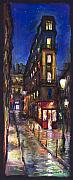 Impressionism Landscape Framed Prints - Paris Old street Framed Print by Yuriy  Shevchuk
