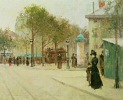 Street Lights Prints - Paris Print by Paul Cornoyer