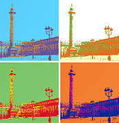Popart . Framed Prints - Paris Place Vendome Framed Print by Flo Ryan