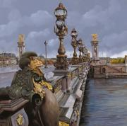 Bridge Painting Metal Prints - Paris-pont Alexandre III Metal Print by Guido Borelli