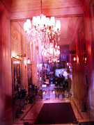 Surreal Paris Decor Photos Prints - Paris Posh Pink Red Hotel Interior Chandelier Print by Kathy Fornal