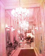 Photos With Red Photo Prints - Paris Posh Pink Surreal Hotel Interior Print by Kathy Fornal