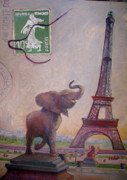 Postcard Painting Originals - Paris Postcard by Joan Ryan